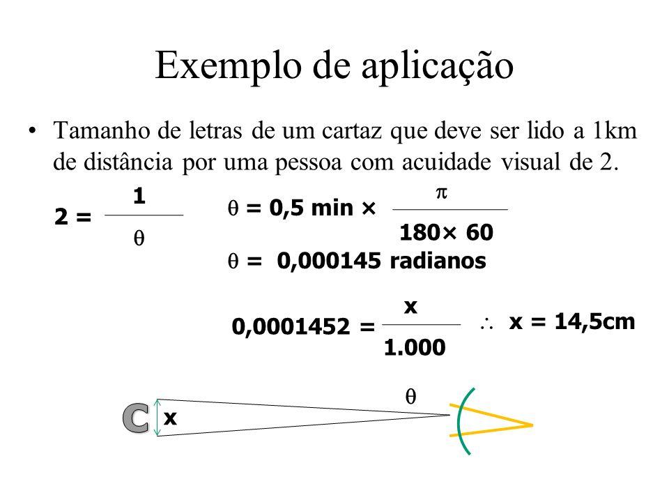 Exemplo de aplicação Tamanho de letras de um cartaz que deve ser lido a 1km de distância por uma pessoa com acuidade visual de 2.