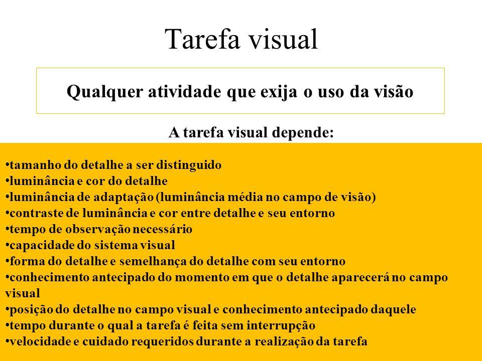 Qualquer atividade que exija o uso da visão A tarefa visual depende: