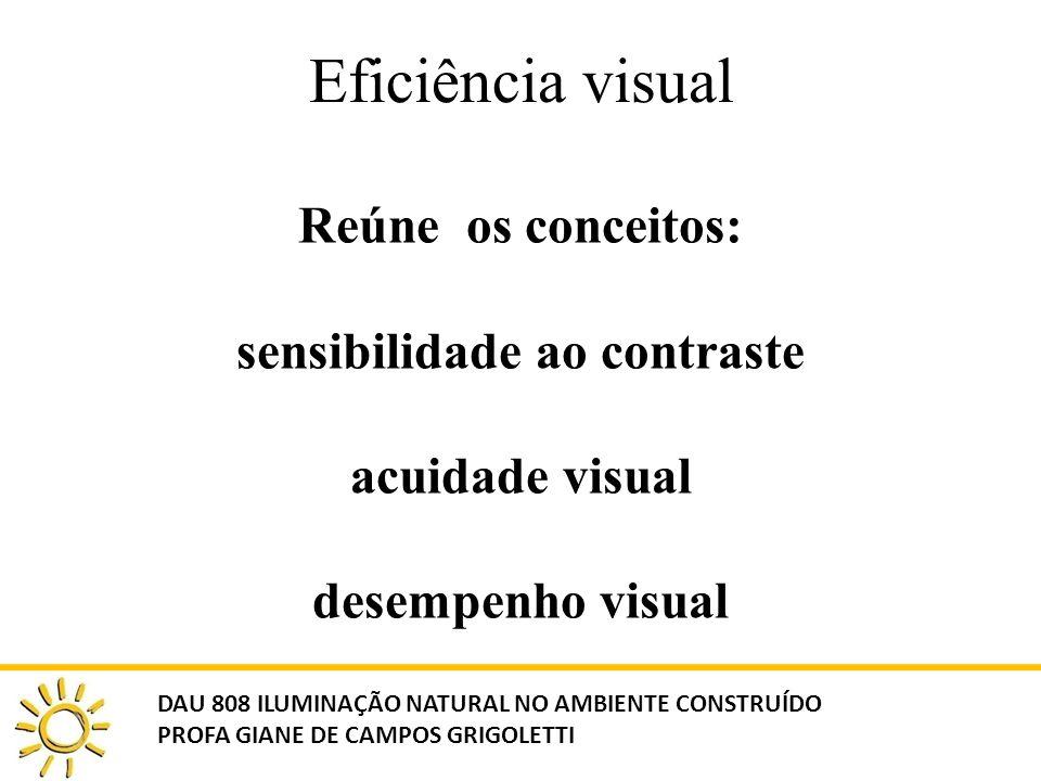Eficiência visual Reúne os conceitos: sensibilidade ao contraste acuidade visual desempenho visual.