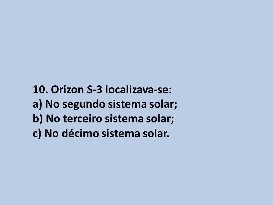 10. Orizon S-3 localizava-se: