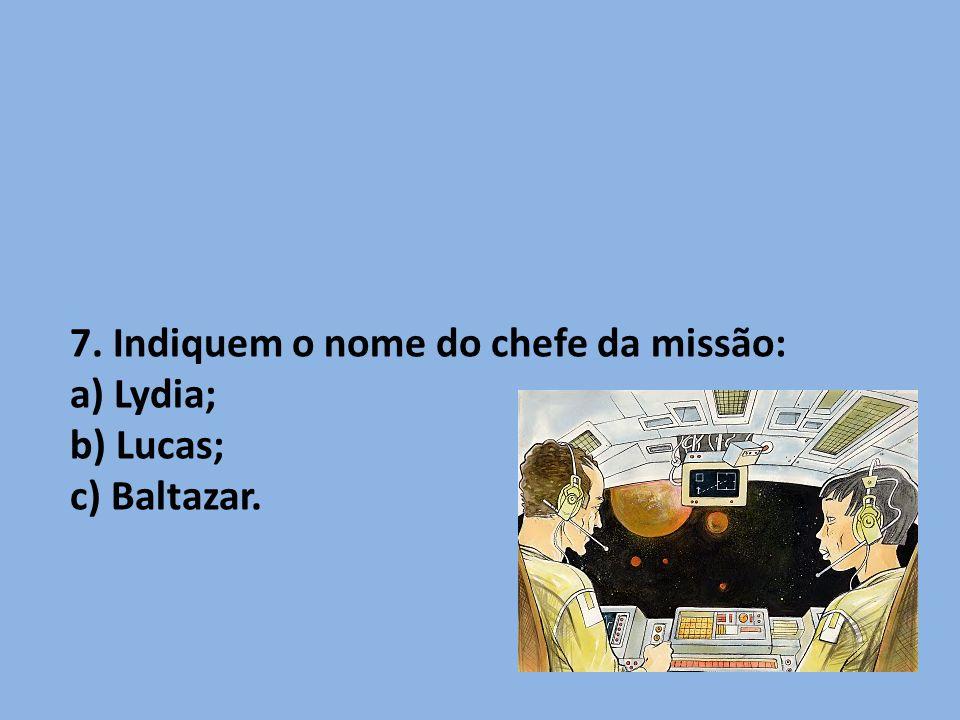 7. Indiquem o nome do chefe da missão: