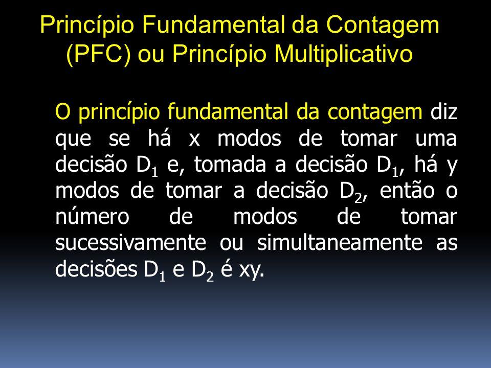 Princípio Fundamental da Contagem (PFC) ou Princípio Multiplicativo