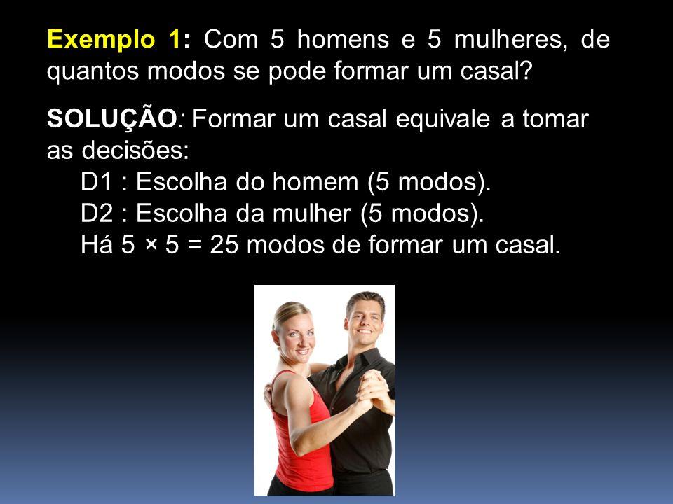 Exemplo 1: Com 5 homens e 5 mulheres, de quantos modos se pode formar um casal