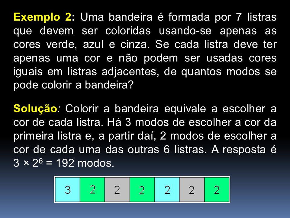 Exemplo 2: Uma bandeira é formada por 7 listras que devem ser coloridas usando-se apenas as cores verde, azul e cinza. Se cada listra deve ter apenas uma cor e não podem ser usadas cores iguais em listras adjacentes, de quantos modos se pode colorir a bandeira