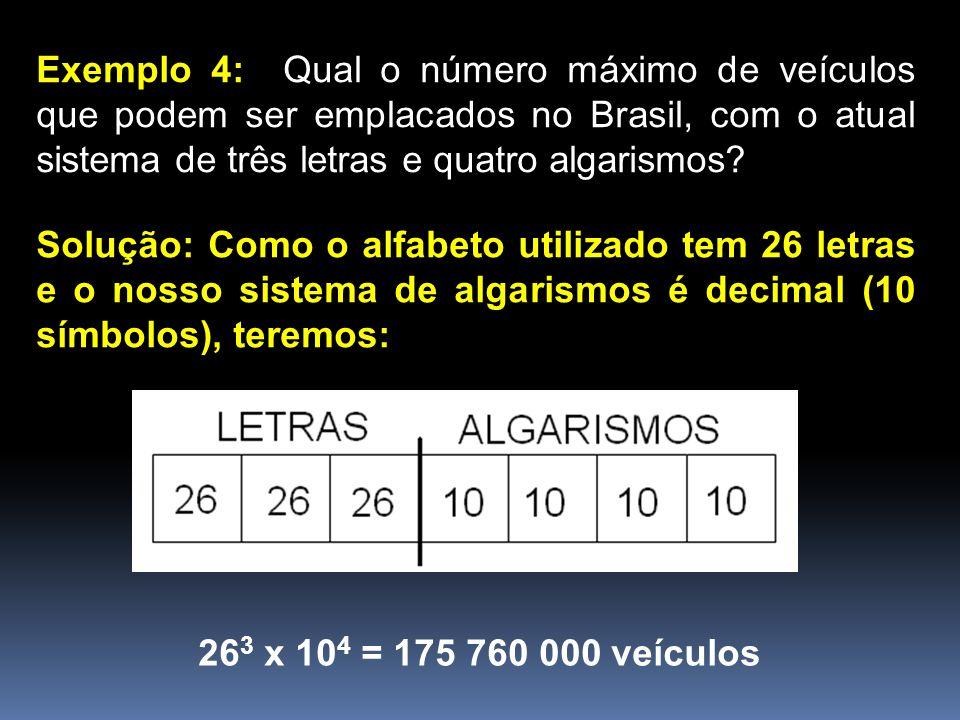 Exemplo 4: Qual o número máximo de veículos que podem ser emplacados no Brasil, com o atual sistema de três letras e quatro algarismos