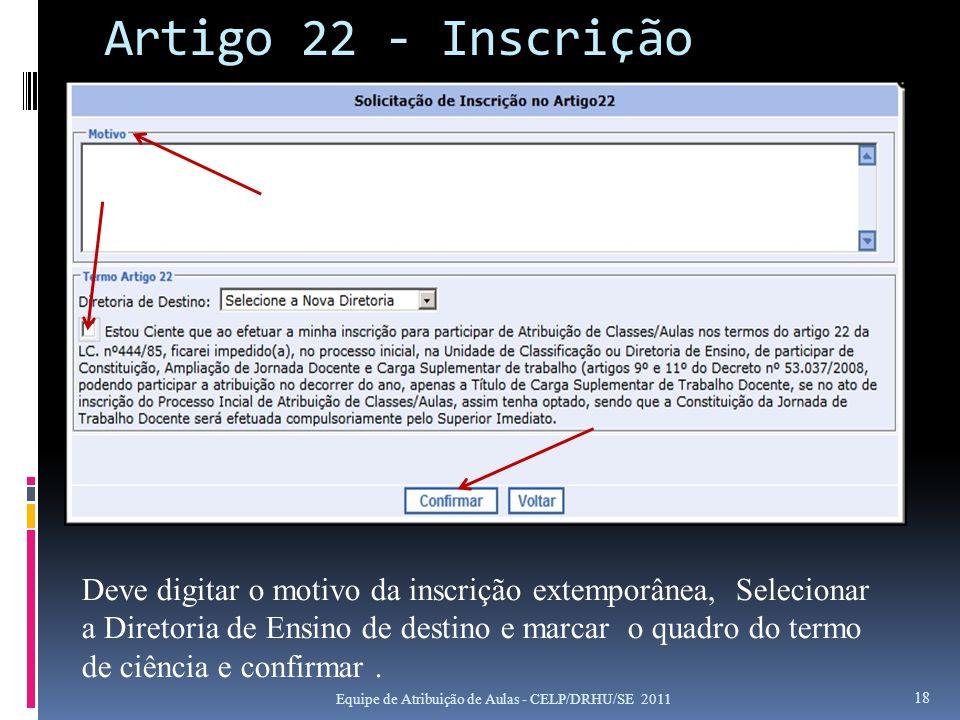 Artigo 22 - Inscrição