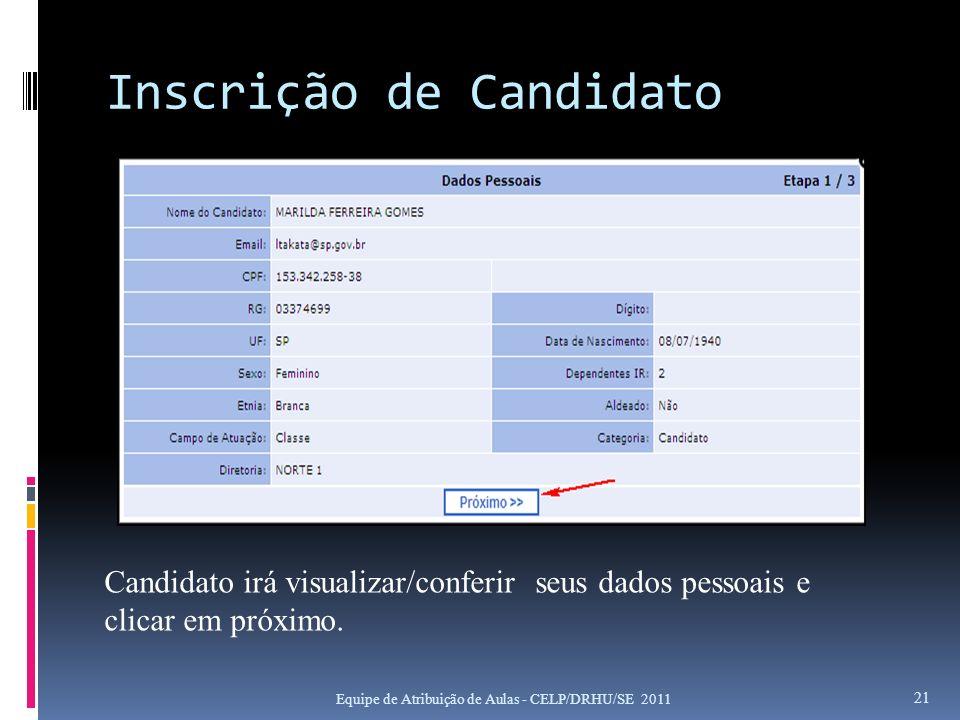 Inscrição de Candidato