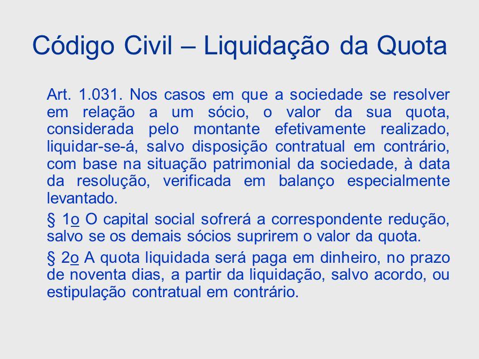 Código Civil – Liquidação da Quota