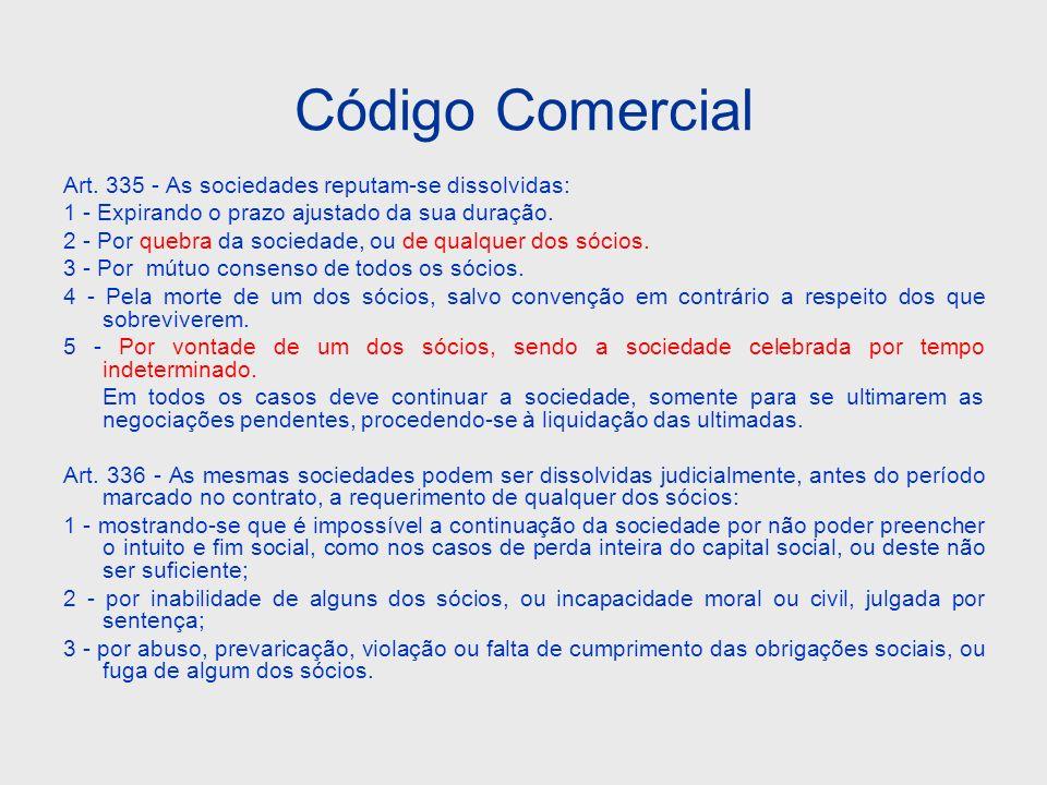 Código Comercial Art. 335 - As sociedades reputam-se dissolvidas:
