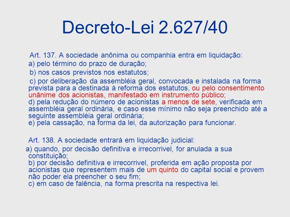Decreto-Lei 2.627/40 Art. 137. A sociedade anônima ou companhia entra em liquidação: a) pelo término do prazo de duração;