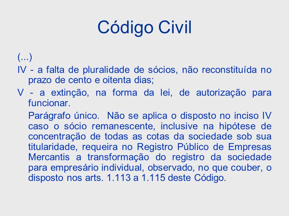 Código Civil (...) IV - a falta de pluralidade de sócios, não reconstituída no prazo de cento e oitenta dias;