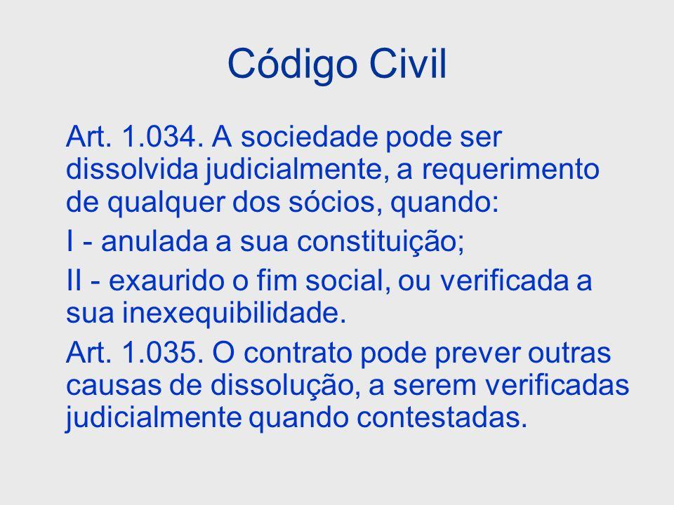 Código Civil Art. 1.034. A sociedade pode ser dissolvida judicialmente, a requerimento de qualquer dos sócios, quando: