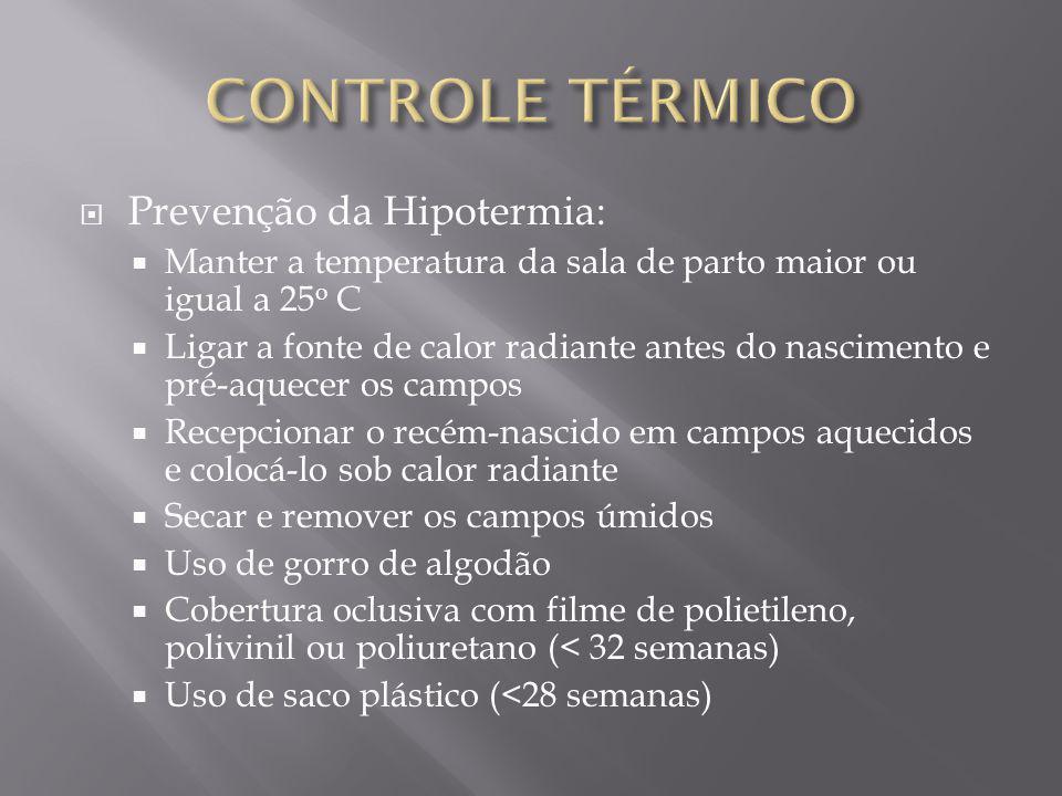 CONTROLE TÉRMICO Prevenção da Hipotermia: