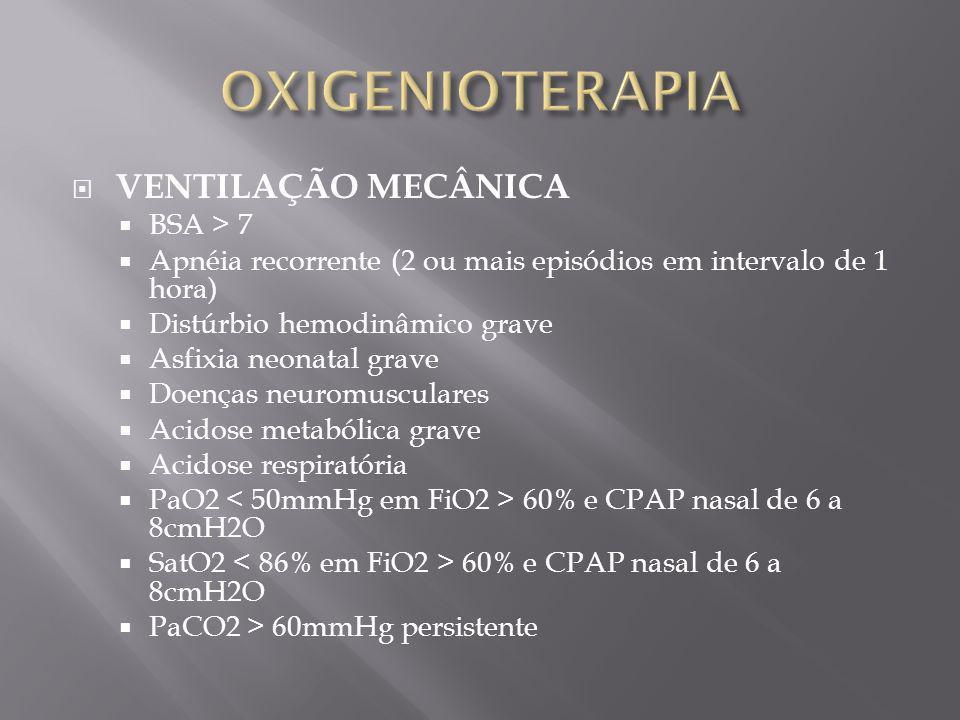 OXIGENIOTERAPIA VENTILAÇÃO MECÂNICA BSA > 7