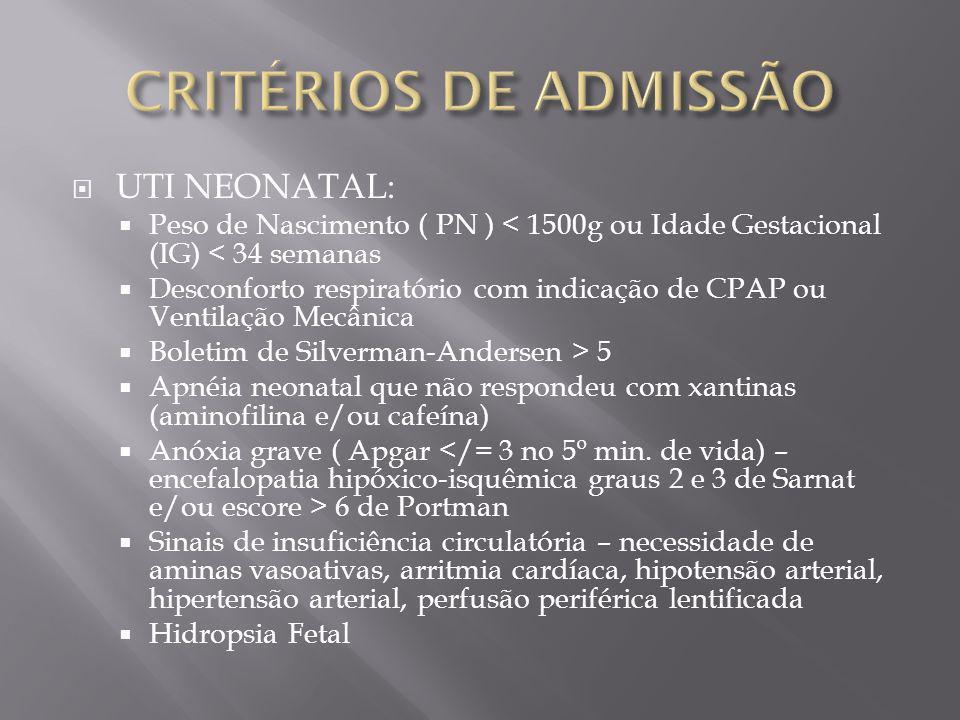 CRITÉRIOS DE ADMISSÃO UTI NEONATAL:
