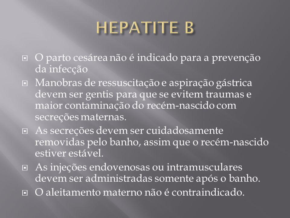 HEPATITE B O parto cesárea não é indicado para a prevenção da infecção