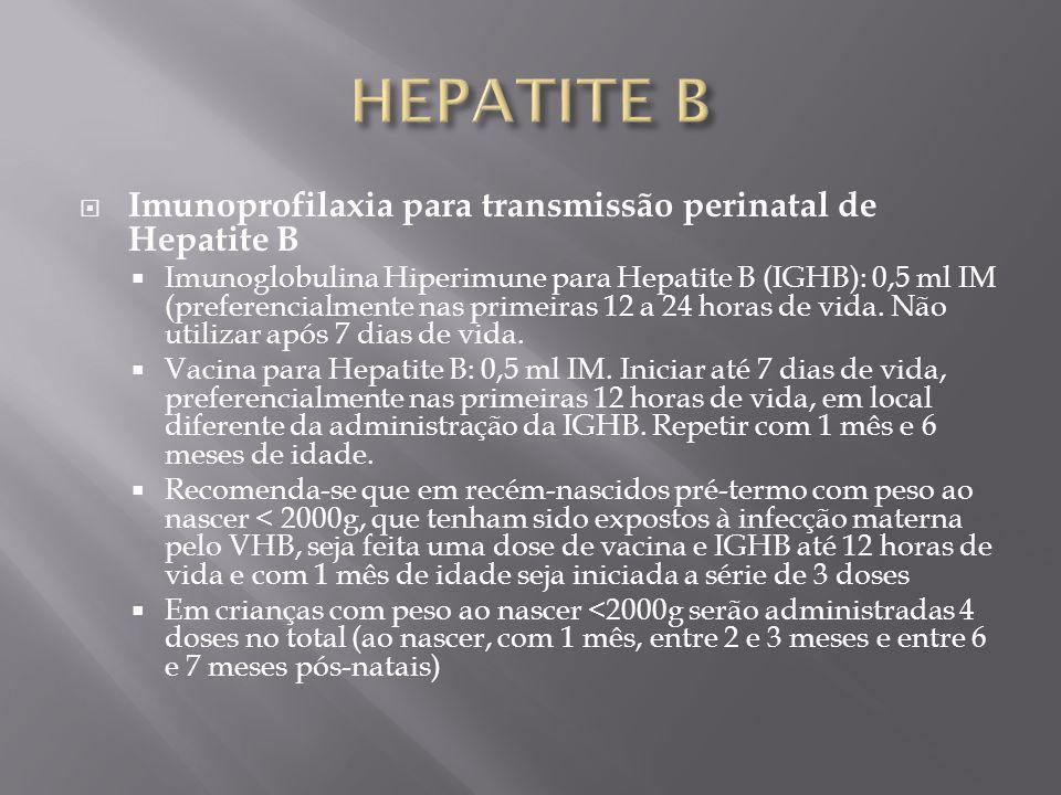 HEPATITE B Imunoprofilaxia para transmissão perinatal de Hepatite B