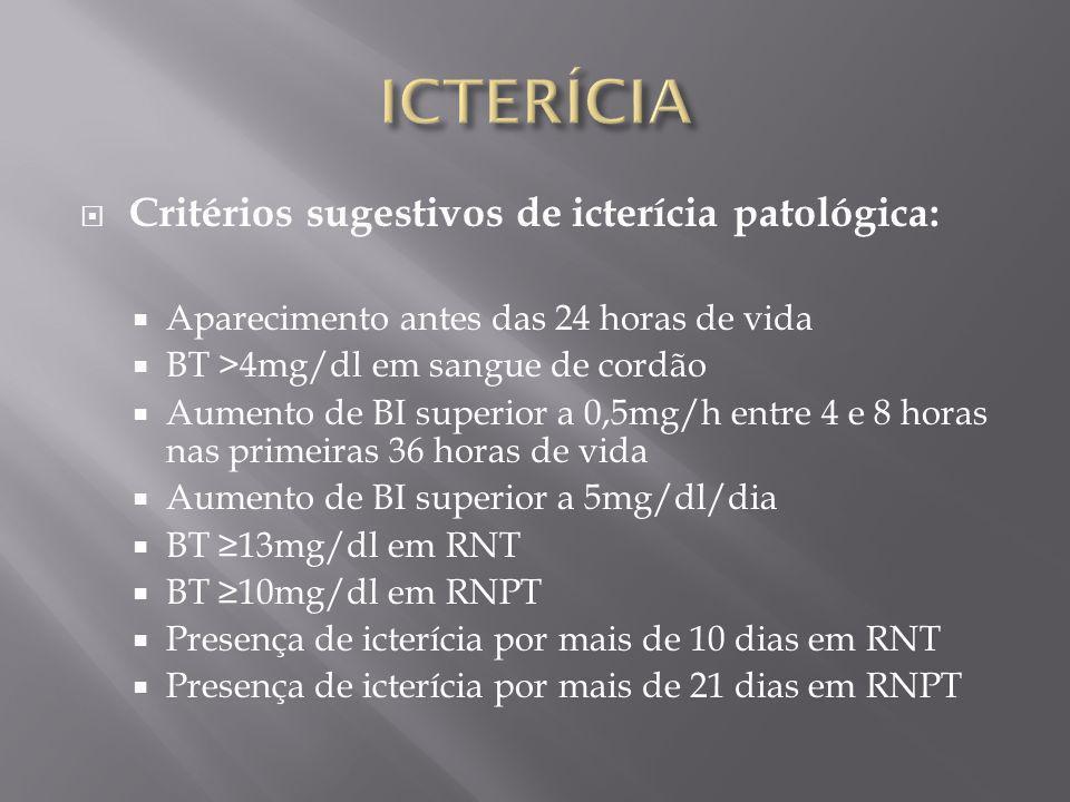 ICTERÍCIA Critérios sugestivos de icterícia patológica:
