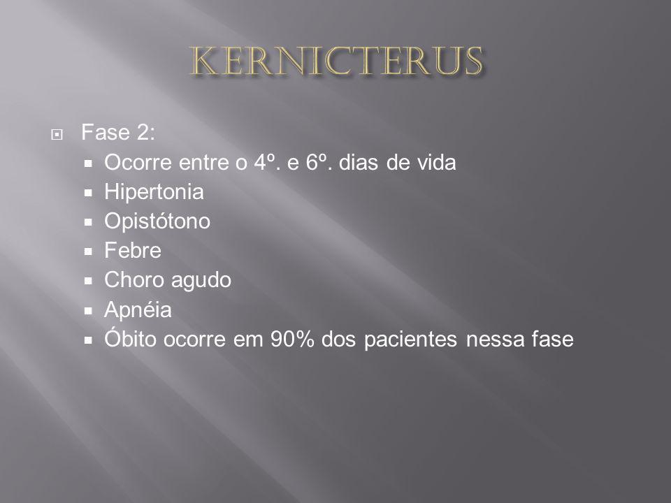 KERNICTERUS Fase 2: Ocorre entre o 4º. e 6º. dias de vida Hipertonia