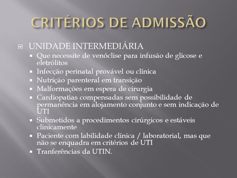CRITÉRIOS DE ADMISSÃO UNIDADE INTERMEDIÁRIA