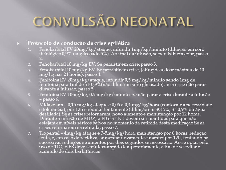CONVULSÃO NEONATAL Protocolo de condução da crise epilética