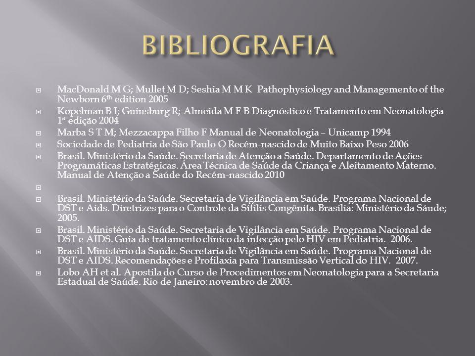 BIBLIOGRAFIA MacDonald M G; Mullet M D; Seshia M M K Pathophysiology and Managemento of the Newborn 6th edition 2005.