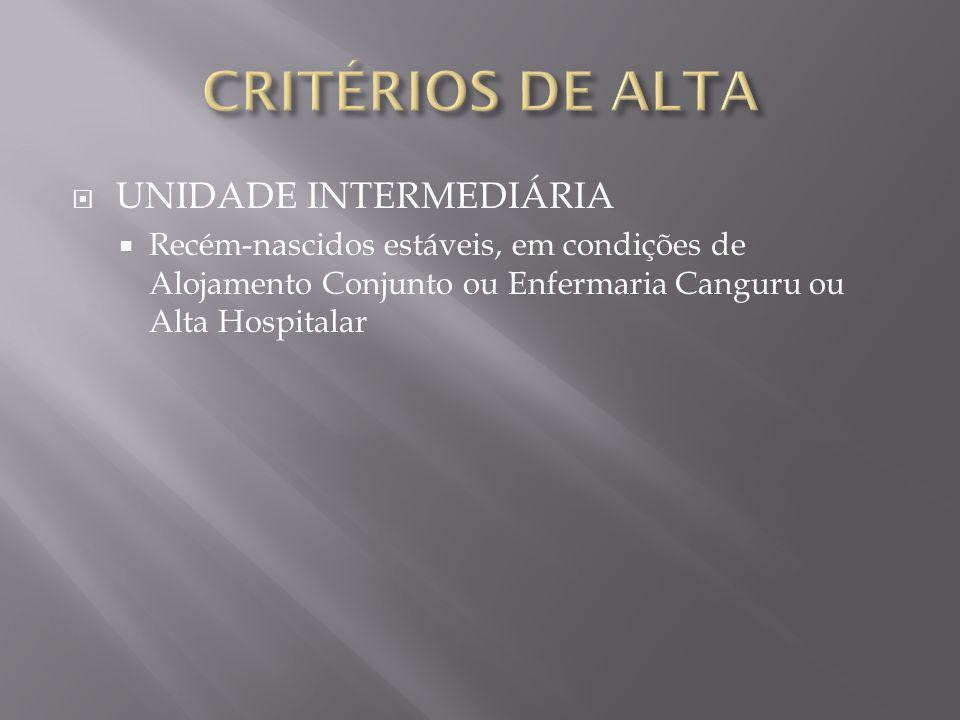 CRITÉRIOS DE ALTA UNIDADE INTERMEDIÁRIA