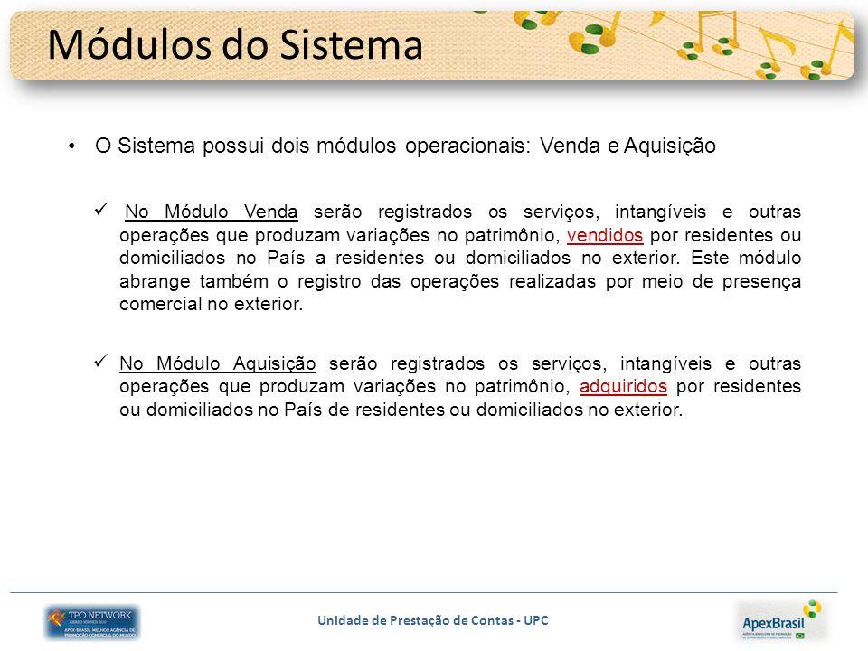 Módulos do Sistema O Sistema possui dois módulos operacionais: Venda e Aquisição.