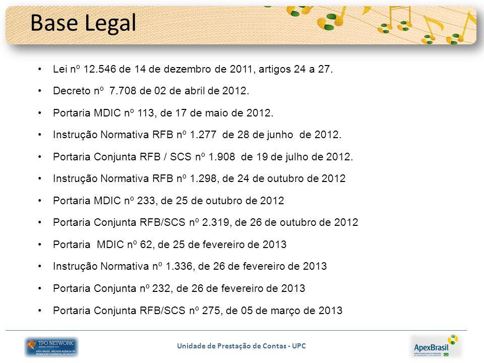 Base Legal Lei nº 12.546 de 14 de dezembro de 2011, artigos 24 a 27.