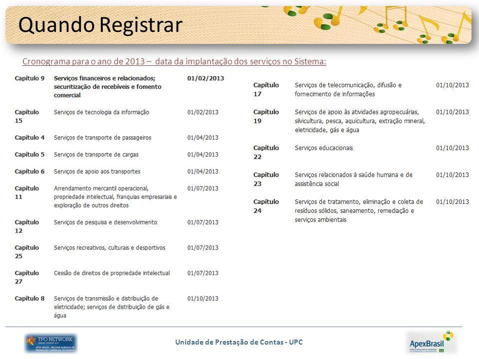 Quando Registrar Cronograma para o ano de 2013 – data da implantação dos serviços no Sistema: