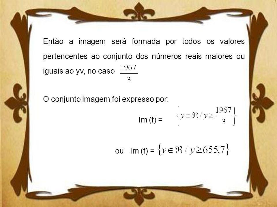 Então a imagem será formada por todos os valores pertencentes ao conjunto dos números reais maiores ou iguais ao yv, no caso