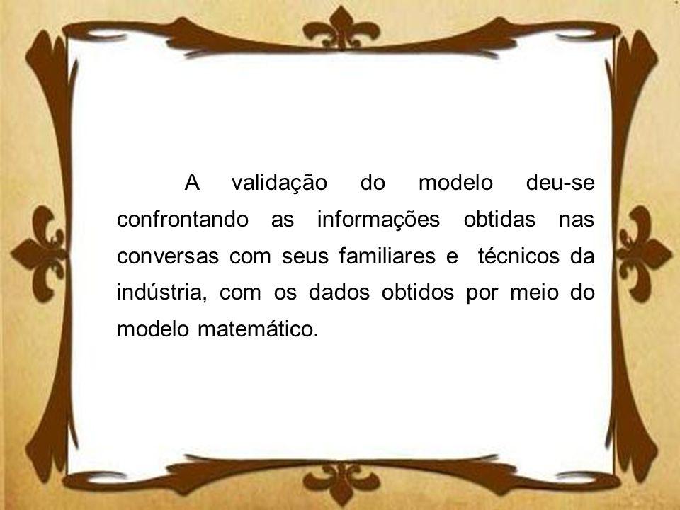 A validação do modelo deu-se confrontando as informações obtidas nas conversas com seus familiares e técnicos da indústria, com os dados obtidos por meio do modelo matemático.