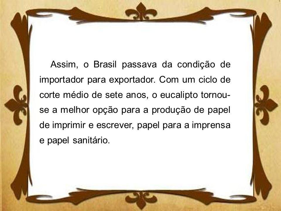 Assim, o Brasil passava da condição de importador para exportador