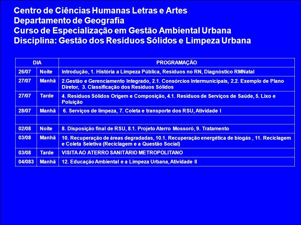Centro de Ciências Humanas Letras e Artes Departamento de Geografia