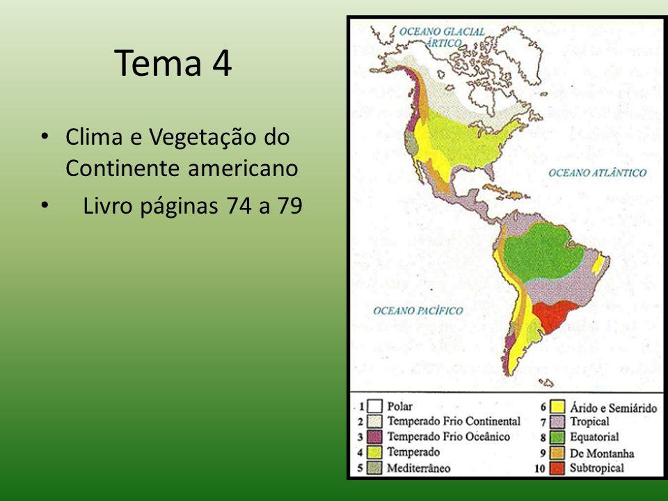 Tema 4 Clima e Vegetação do Continente americano Livro páginas 74 a 79