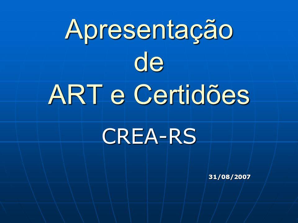 Apresentação de ART e Certidões