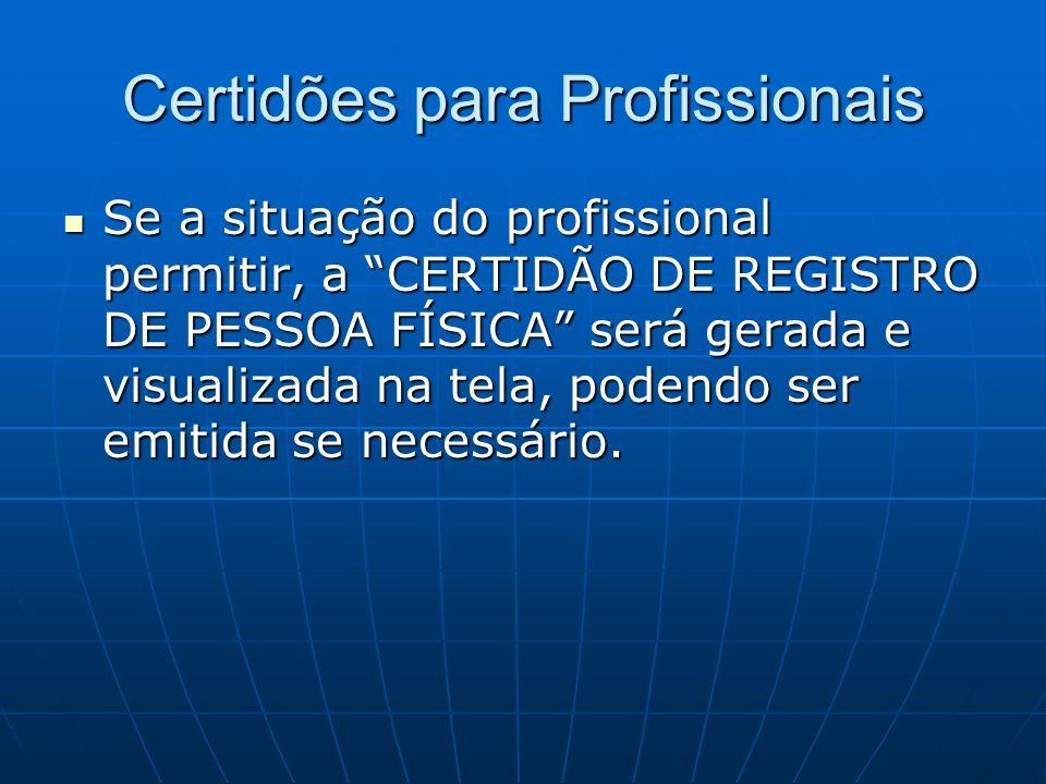 Certidões para Profissionais