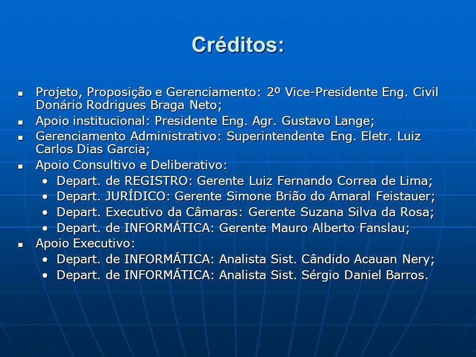 Créditos: Projeto, Proposição e Gerenciamento: 2º Vice-Presidente Eng. Civil Donário Rodrigues Braga Neto;