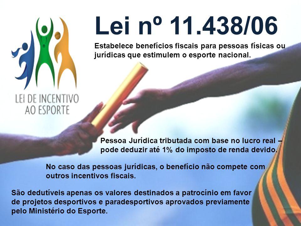 Lei nº 11.438/06 Estabelece benefícios fiscais para pessoas físicas ou jurídicas que estimulem o esporte nacional.