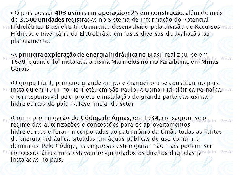 O país possui 403 usinas em operação e 25 em construção, além de mais de 3.500 unidades registradas no Sistema de Informação do Potencial Hidrelétrico Brasileiro (instrumento desenvolvido pela divisão de Recursos Hídricos e Inventário da Eletrobrás), em fases diversas de avaliação ou planejamento.