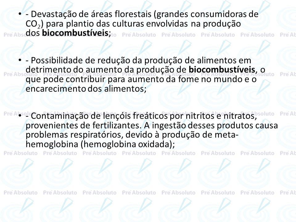 - Devastação de áreas florestais (grandes consumidoras de CO2) para plantio das culturas envolvidas na produção dos biocombustíveis;