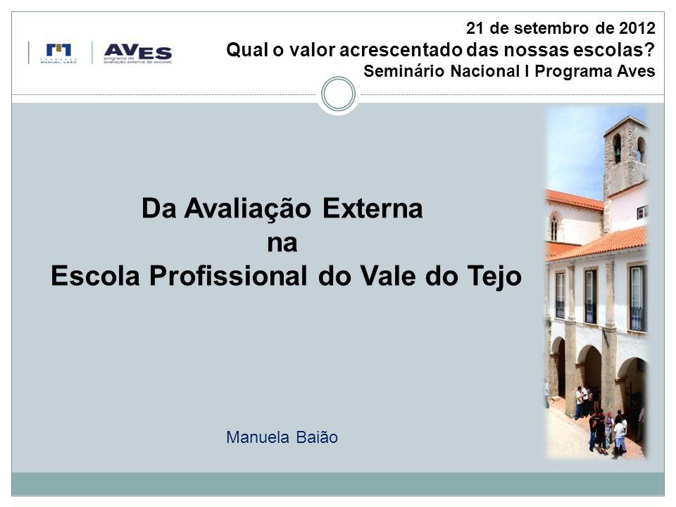 21 de setembro de 2012 Qual o valor acrescentado das nossas escolas Seminário Nacional I Programa Aves.