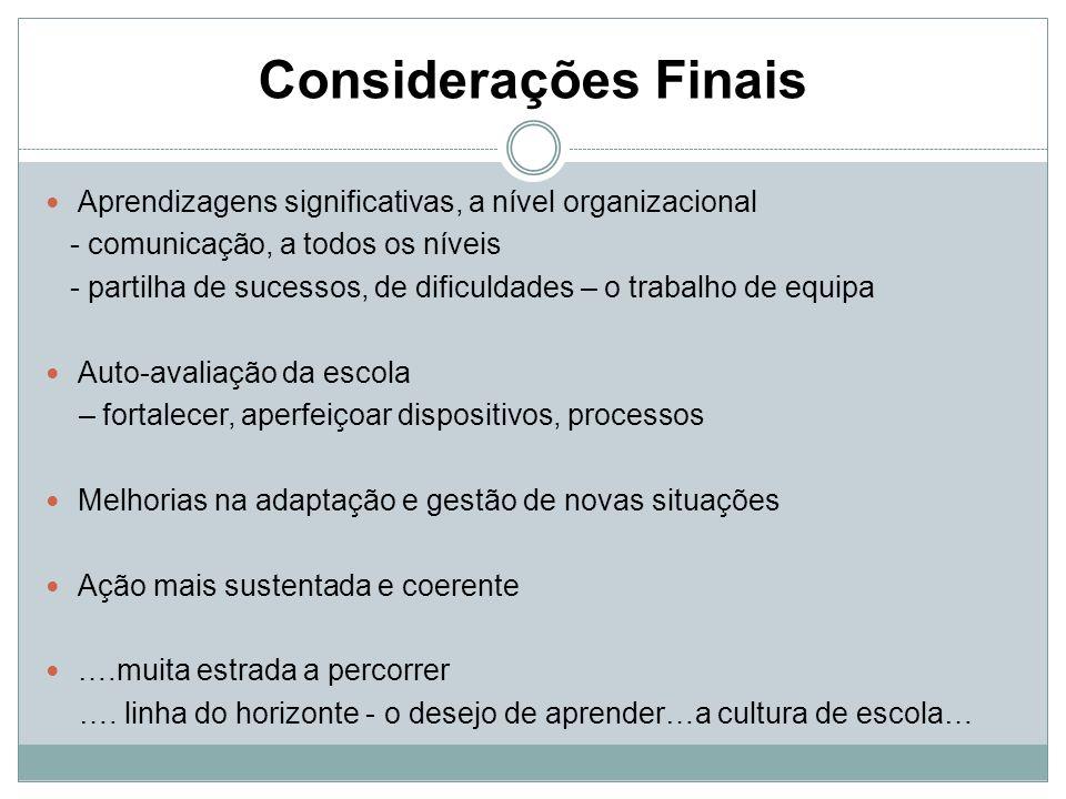 Considerações Finais Aprendizagens significativas, a nível organizacional. - comunicação, a todos os níveis.