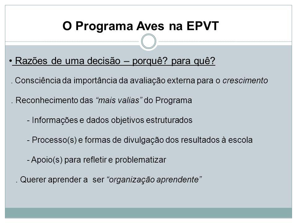 O Programa Aves na EPVT Razões de uma decisão – porquê para quê