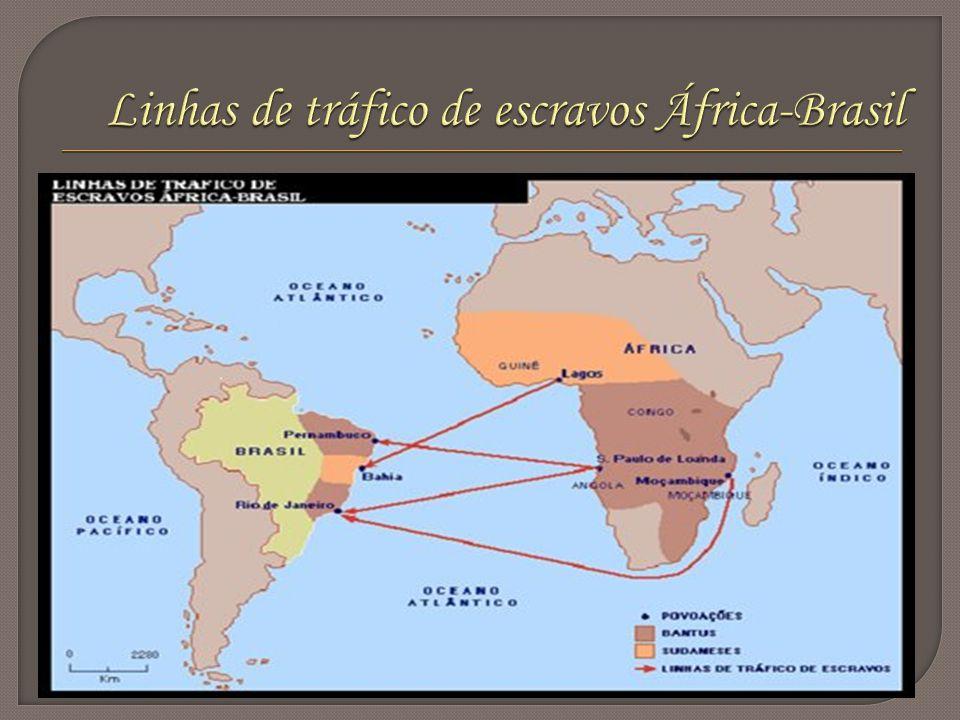 Linhas de tráfico de escravos África-Brasil