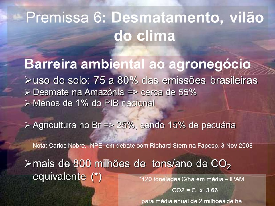 Premissa 6: Desmatamento, vilão do clima