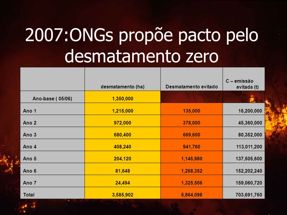 2007:ONGs propõe pacto pelo desmatamento zero