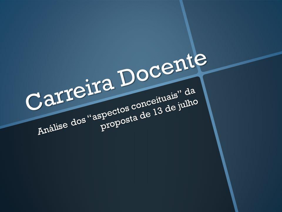 Carreira Docente Análise dos aspectos conceituais da proposta de 13 de julho