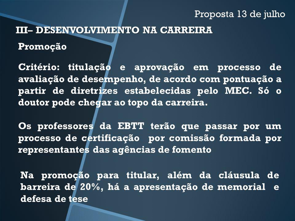 Proposta 13 de julho III– DESENVOLVIMENTO NA CARREIRA. Promoção.