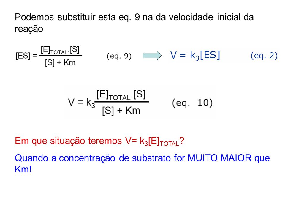Podemos substituir esta eq. 9 na da velocidade inicial da reação